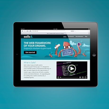 The Sails.js website on a tablet screen
