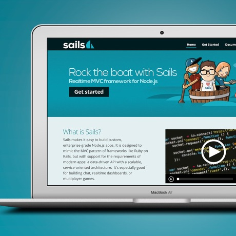A laptop with the Sails.js website on screen