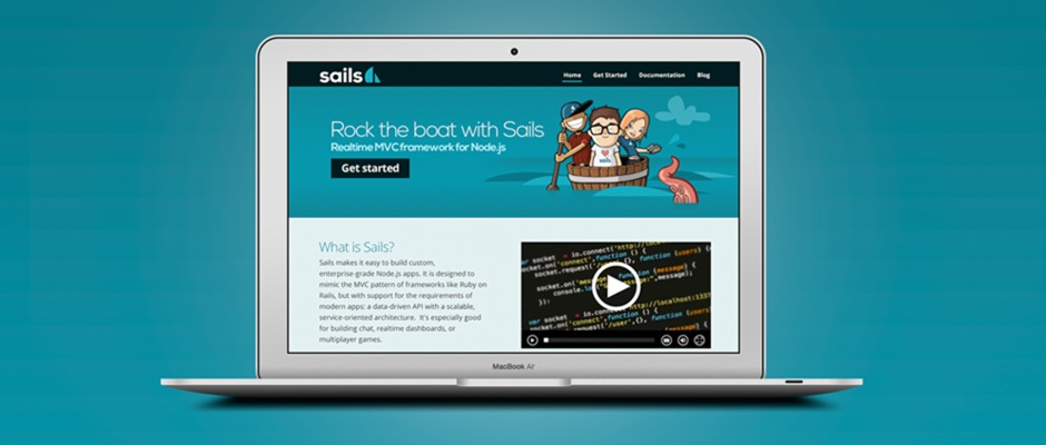 A laptop computer with the Sails.js website on screen